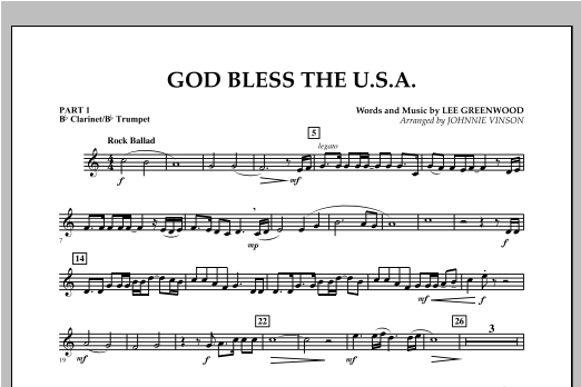 God Bless The U.S.A. - Pt.1 - Bb Clarinet/Bb Trumpet Sheet Music