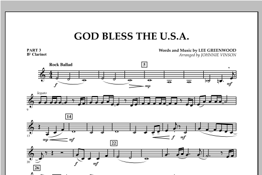 God Bless The U.S.A. - Pt.3 - Bb Clarinet Sheet Music