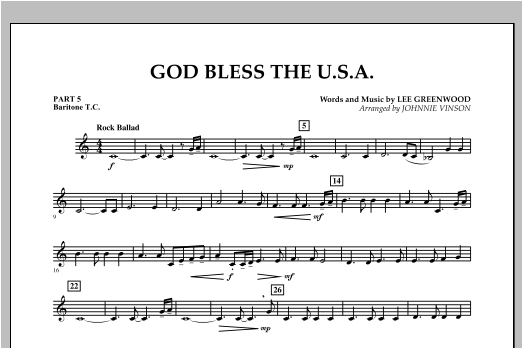 God Bless The U.S.A. - Pt.5 - Baritone T.C. Sheet Music