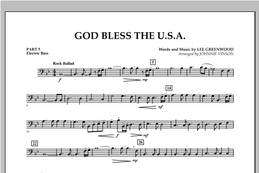 God Bless The U.S.A. - Pt. 5 - Electric Bass Sheet Music