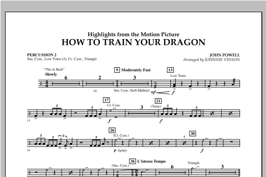 Highlights from How To Train Your Dragon - Percussion 2 Partition Digitale