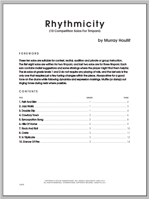 Rhythmicity (10 Competition Solos For Timpani) Sheet Music