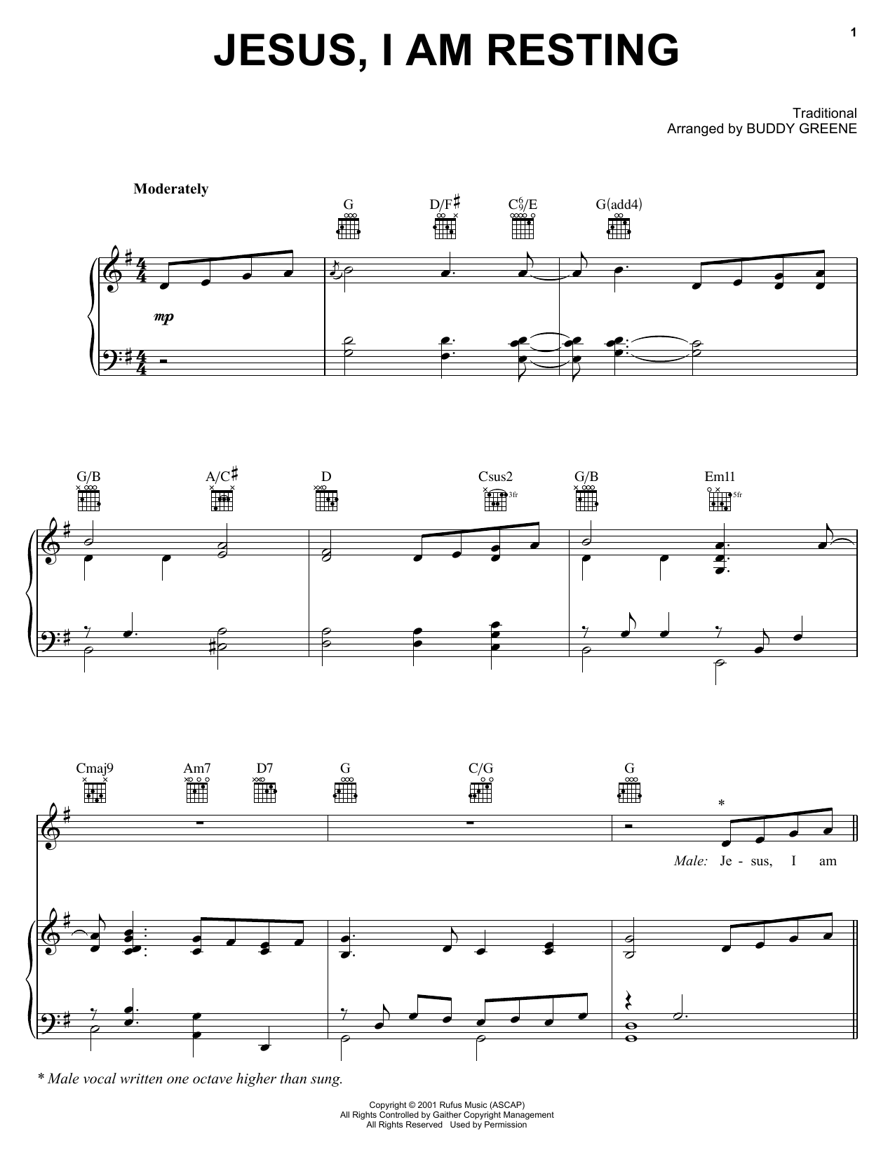 Partition piano Jesus, I Am Resting de The Martins - Piano Voix Guitare (Mélodie Main Droite)