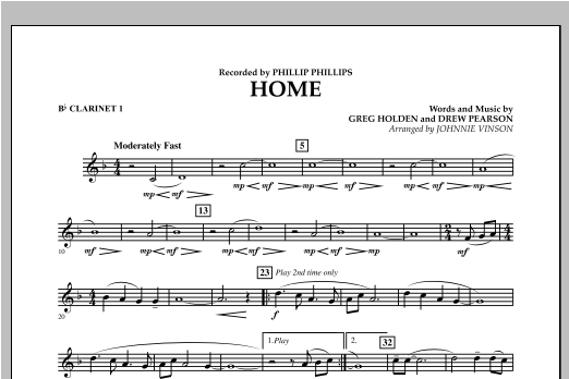 Home - Bb Clarinet 1 Sheet Music