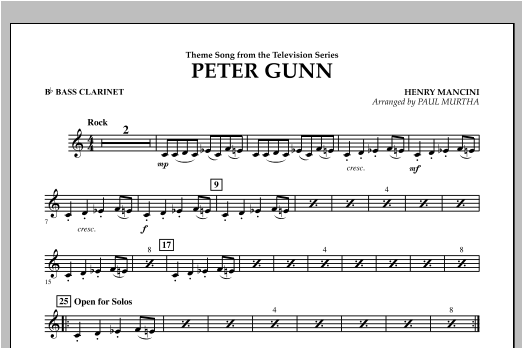 Peter Gunn - Bb Bass Clarinet Sheet Music