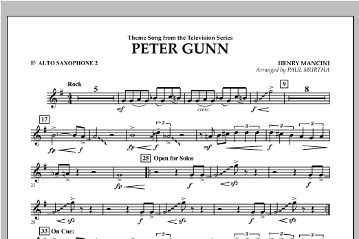 Peter Gunn - Eb Alto Saxophone 2 Sheet Music