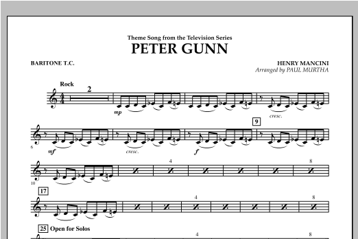 Peter Gunn - Baritone T.C. Sheet Music