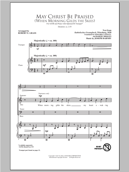Partition chorale May Christ Be Praised de Robert E. Grass - SATB