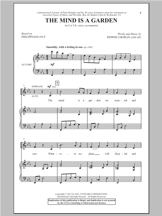 The Mind Is A Garden (SATB Choir)