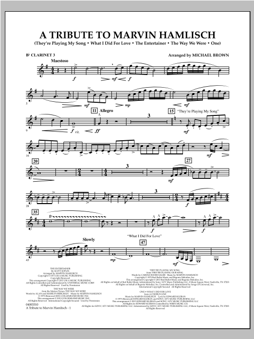 A Tribute To Marvin Hamlisch - Bb Clarinet 3 Sheet Music