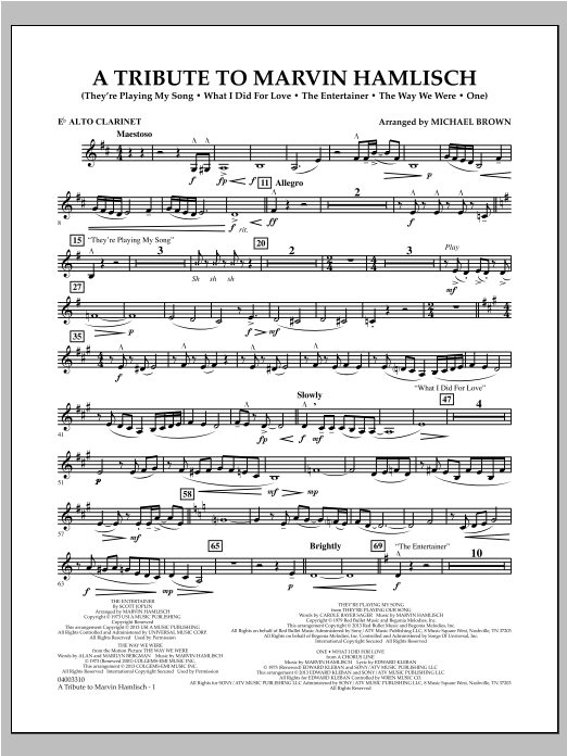A Tribute To Marvin Hamlisch - Eb Alto Clarinet Sheet Music