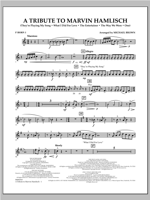 A Tribute To Marvin Hamlisch - F Horn 1 Sheet Music
