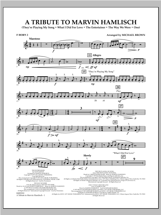 A Tribute To Marvin Hamlisch - F Horn 2 Sheet Music