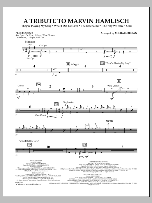 A Tribute To Marvin Hamlisch - Percussion 2 Sheet Music