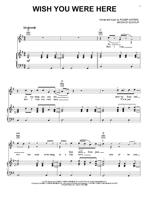 Guitar guitar tabs wish you were here : Wish You Were Here sheet music by Pink Floyd (Piano, Vocal ...