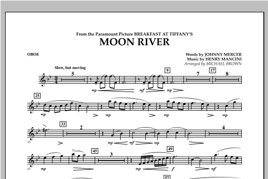 Moon River - Oboe Sheet Music