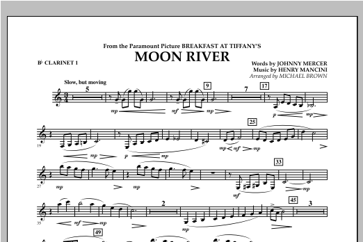 Moon River - Bb Clarinet 1 Sheet Music