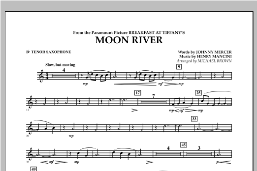 Moon River - Bb Tenor Saxophone Sheet Music