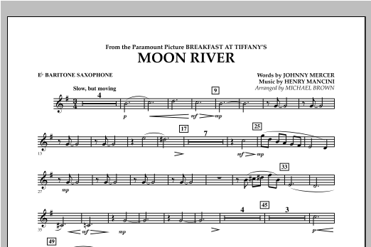 Moon River - Eb Baritone Saxophone Sheet Music
