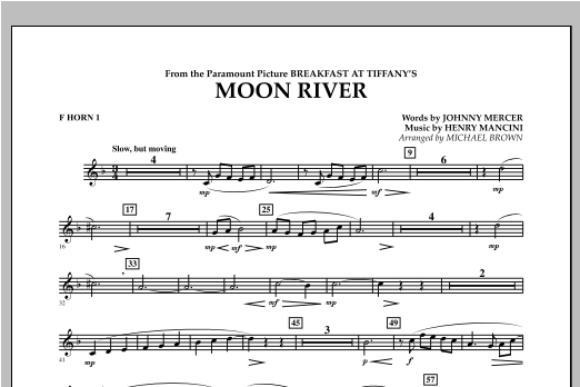 Moon River - F Horn 1 Sheet Music