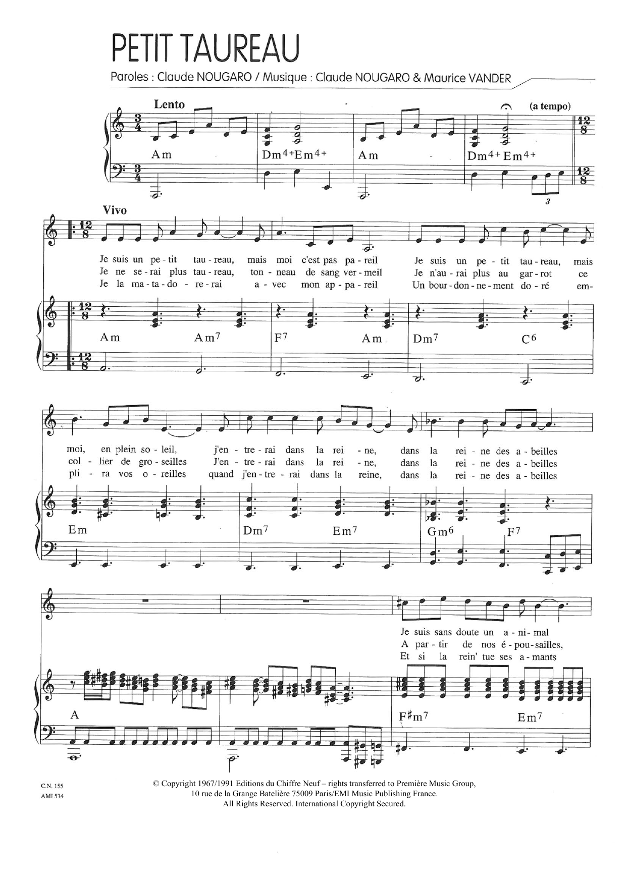 Un Petit Taureau Sheet Music