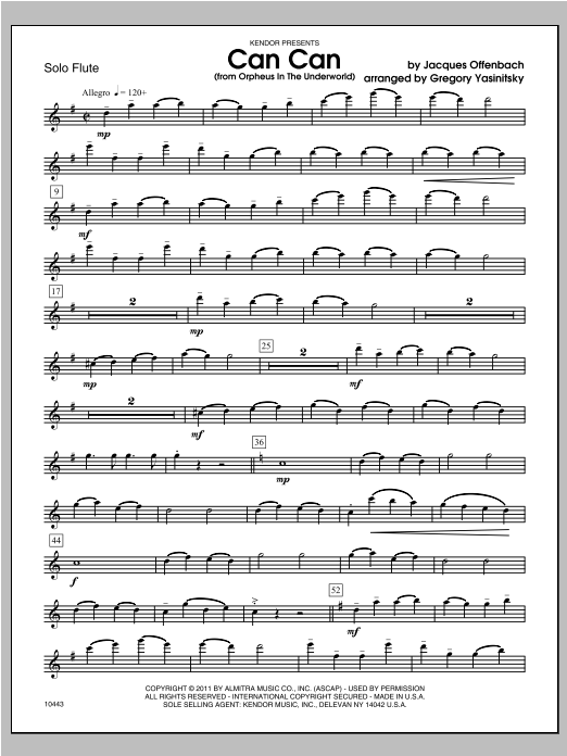 Can Can (from Orpheus In The Underworld) - Flute Sheet Music