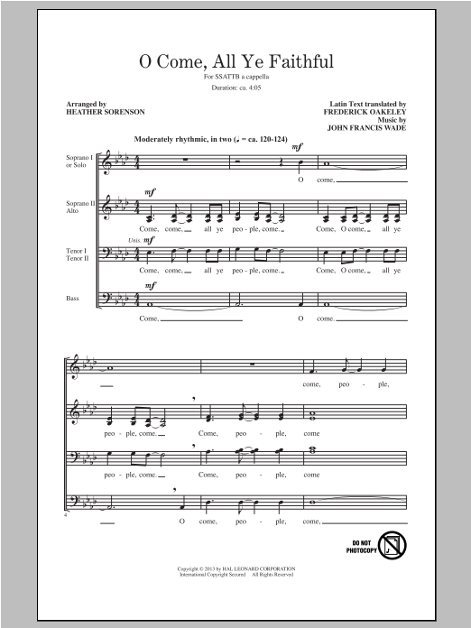 O Come, All Ye Faithful (arr. Heather Sorenson) Sheet Music