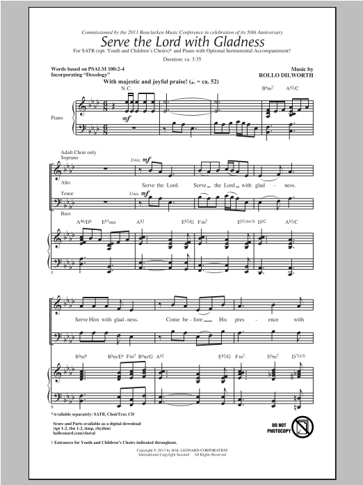 Serve The Lord With Gladness Sheet Music