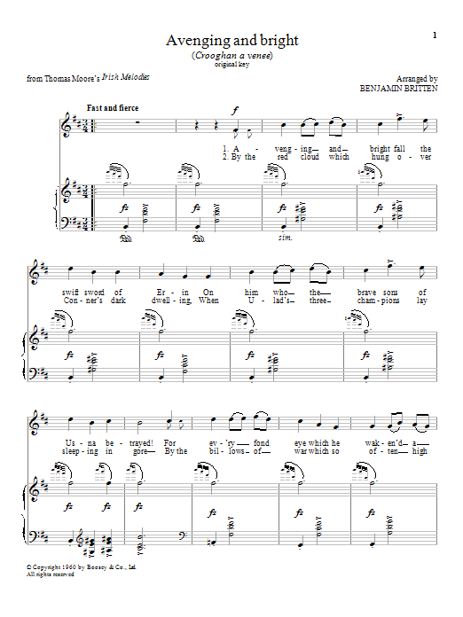 Avenging and bright Sheet Music