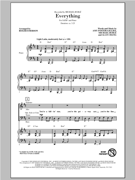 Everything (arr. Roger Emerson) Sheet Music