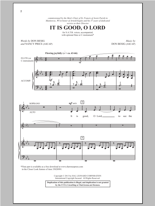 It Is Good, O Lord Sheet Music