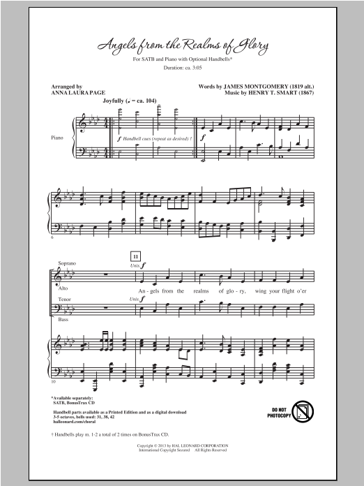 Angels From The Realms Of Glory (arr. Anna Laura Page) (SATB Choir)