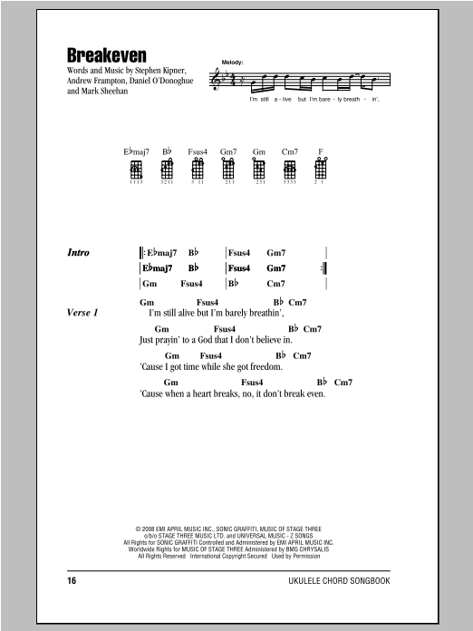 Tablature guitare Breakeven de The Script - Ukulele (strumming patterns)