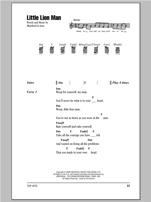 Tablature guitare Little Lion Man de Mumford & Sons - Ukulele (strumming patterns)