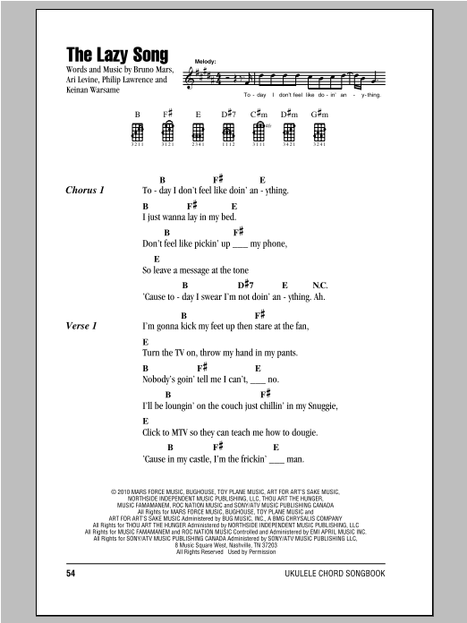 The Lazy Song Sheet Music By Bruno Mars Ukulele With Strumming