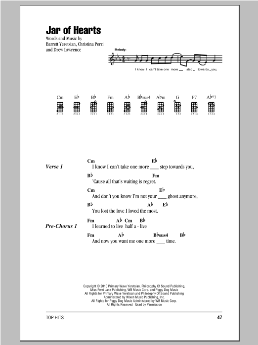 Jar Of Hearts Sheet Music Christina Perri Ukulele With Strumming