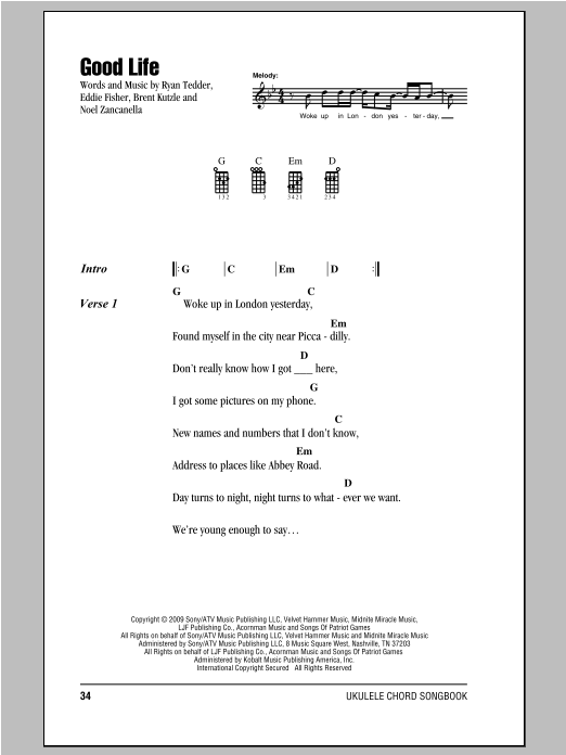 Tablature guitare Good Life de OneRepublic - Ukulele (strumming patterns)