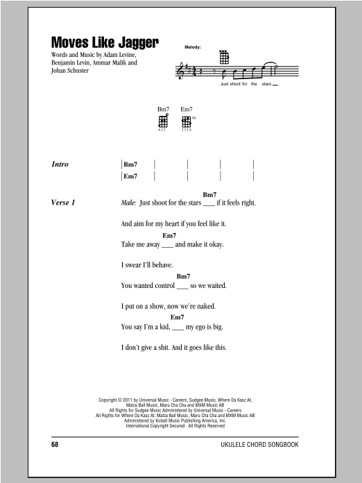 Moves Like Jagger Sheet Music By Maroon 5 Ukulele With Strumming