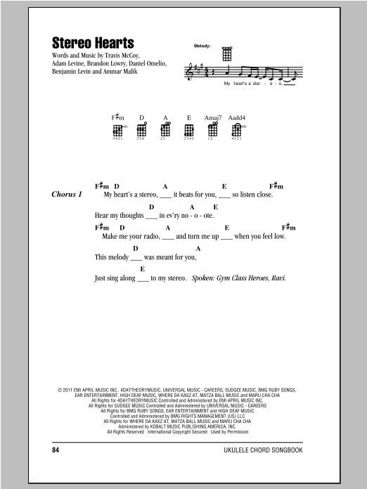 Stereo Hearts Feat Adam Levine Sheet Music Gym Class Heroes