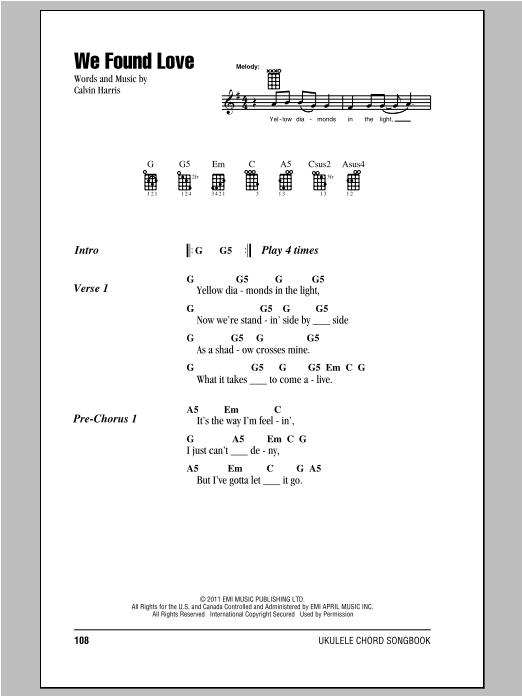 We Found Love (feat. Calvin Harris) Sheet Music