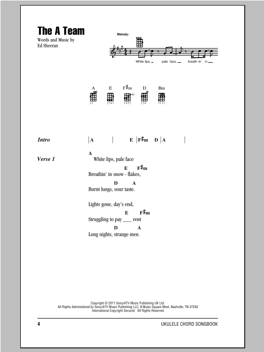 The A Team Sheet Music Ed Sheeran Ukulele With Strumming Patterns