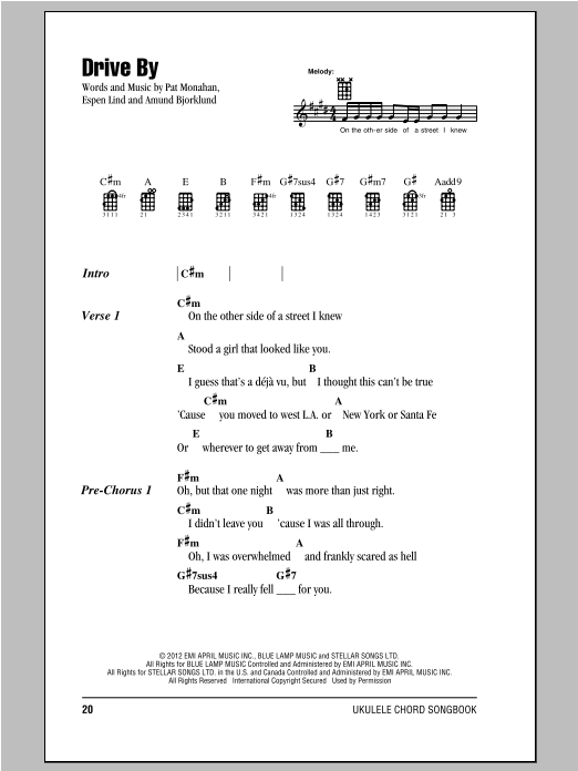 Drive By sheet music by Train (Ukulele with strumming patterns – 96380)