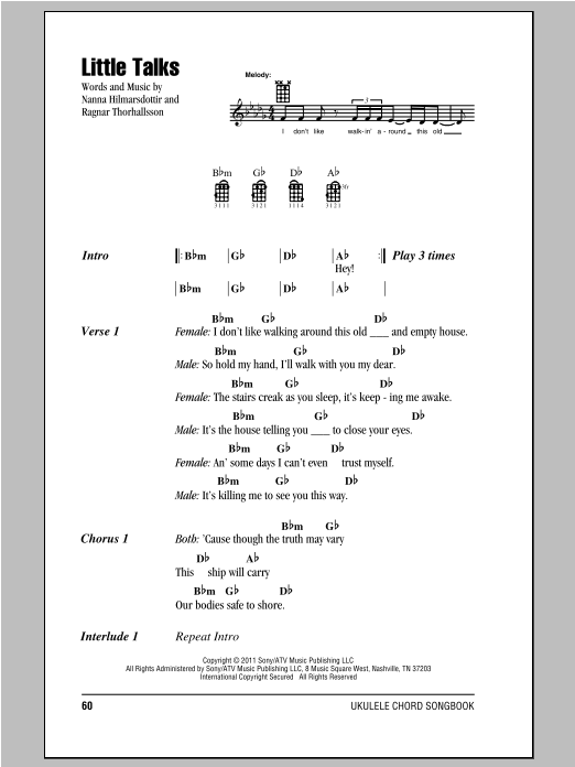 Little Talks Sheet Music Of Monsters And Men Ukulele With