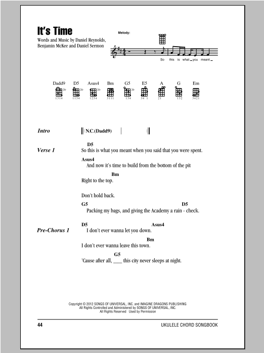 It's Time Sheet Music