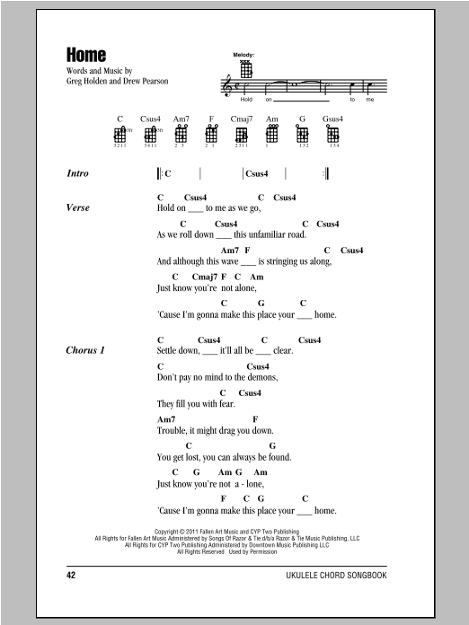 Home Sheet Music Phillip Phillips Ukulele Chordslyrics