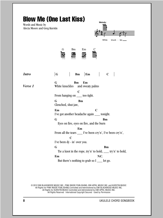 Tablature guitare Blow Me (One Last Kiss) de Pink - Ukulele (strumming patterns)