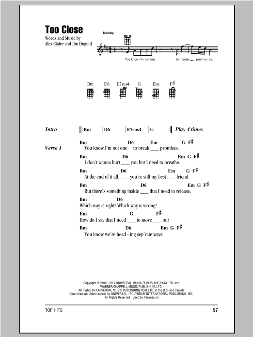 Too Close Sheet Music