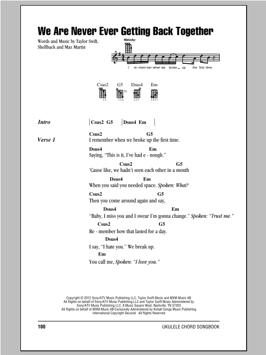 We Are Never Ever Getting Back Together Sheet Music Taylor Swift