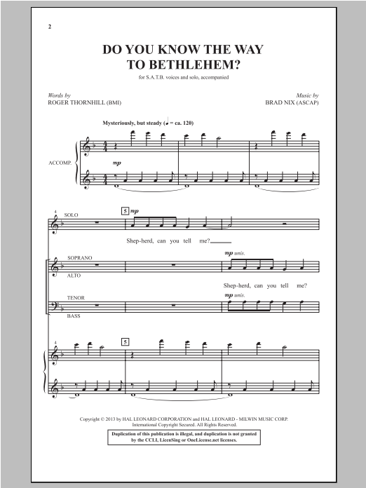 Partition chorale Do You Know The Way To Bethlehem? de Brad Nix - SATB