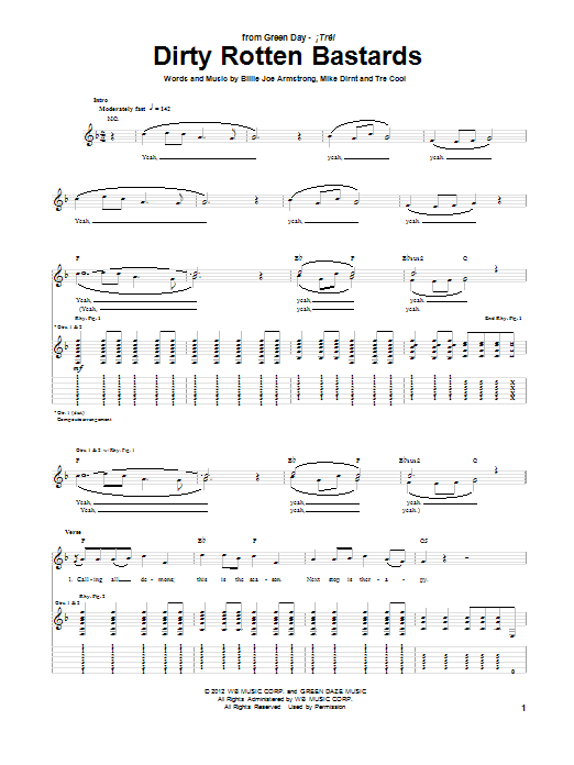 Dirty Rotten Bastards Sheet Music
